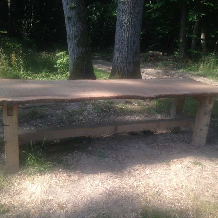 2.5m table made from oak felled in the woodland