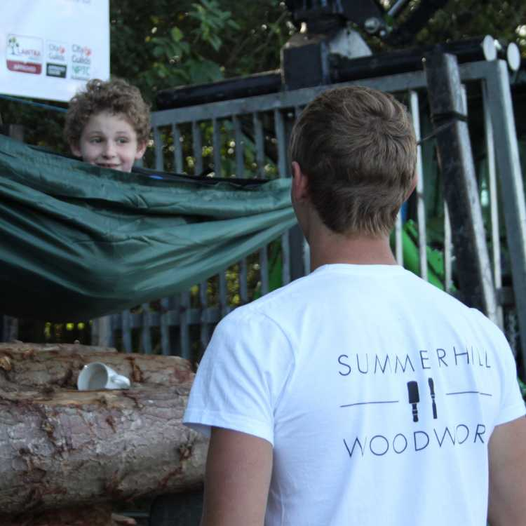 James shows Harry how to camp out!