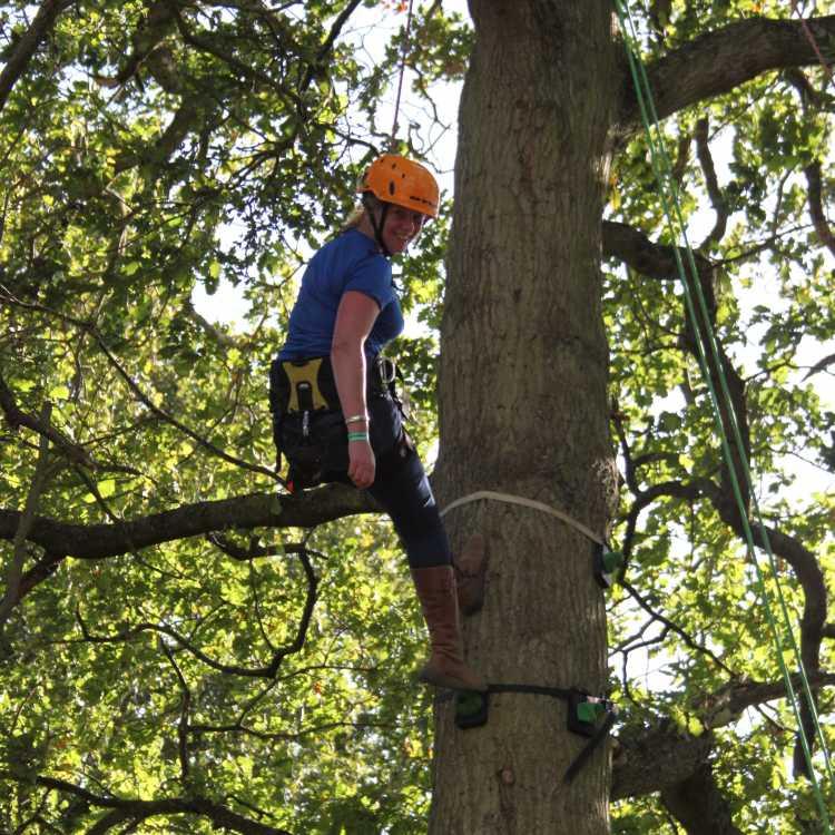 Anna enjoys a climb