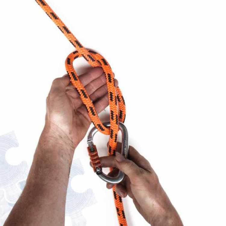 Third step on how to tie a Munter Hitch Knot