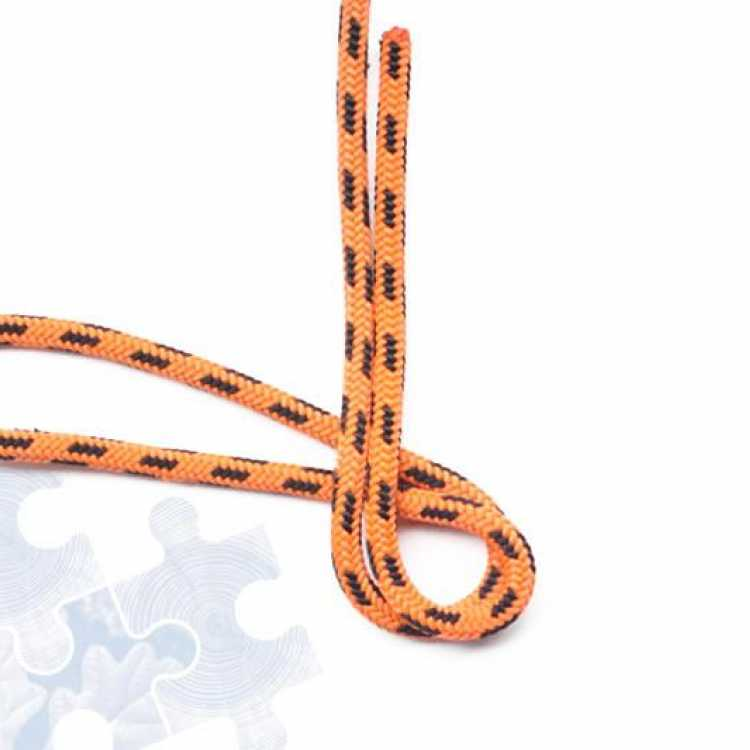 Orange rope showing second step of creating a Double figure of Eight knot