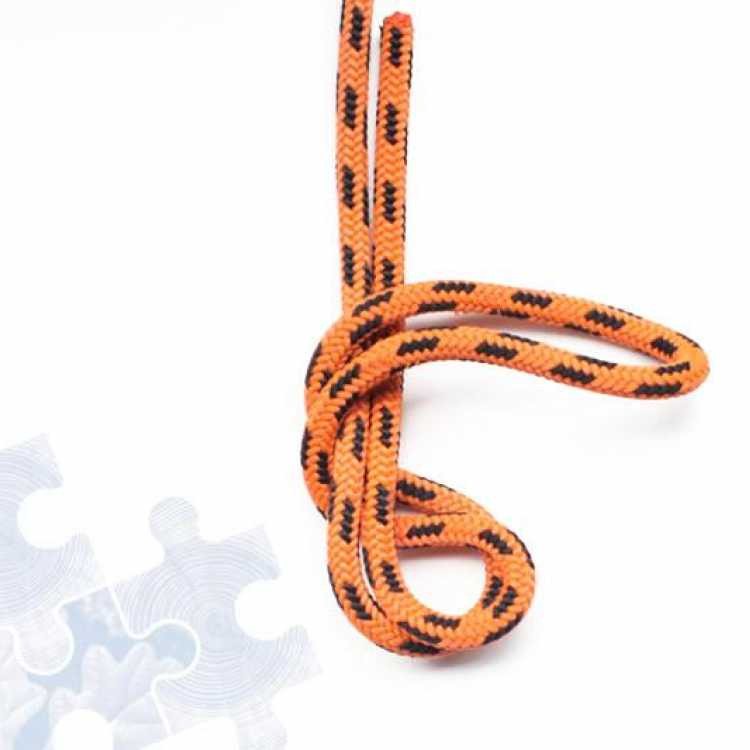 Orange rope showing third step of creating a Double figure of Eight knot