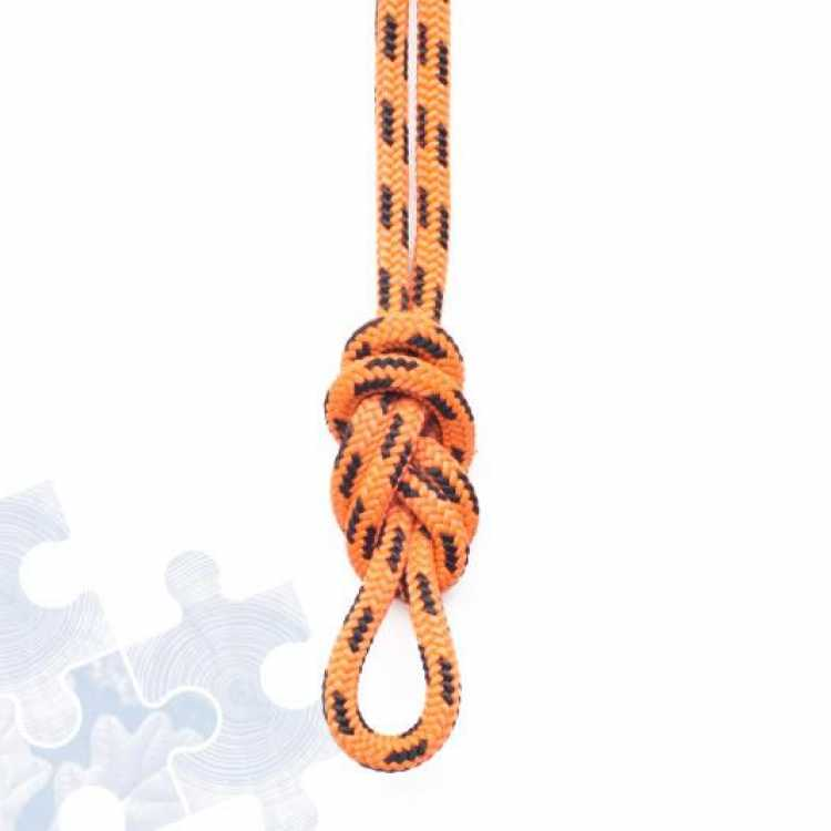 Orange rope showing final step of creating a Double figure of Eight knot