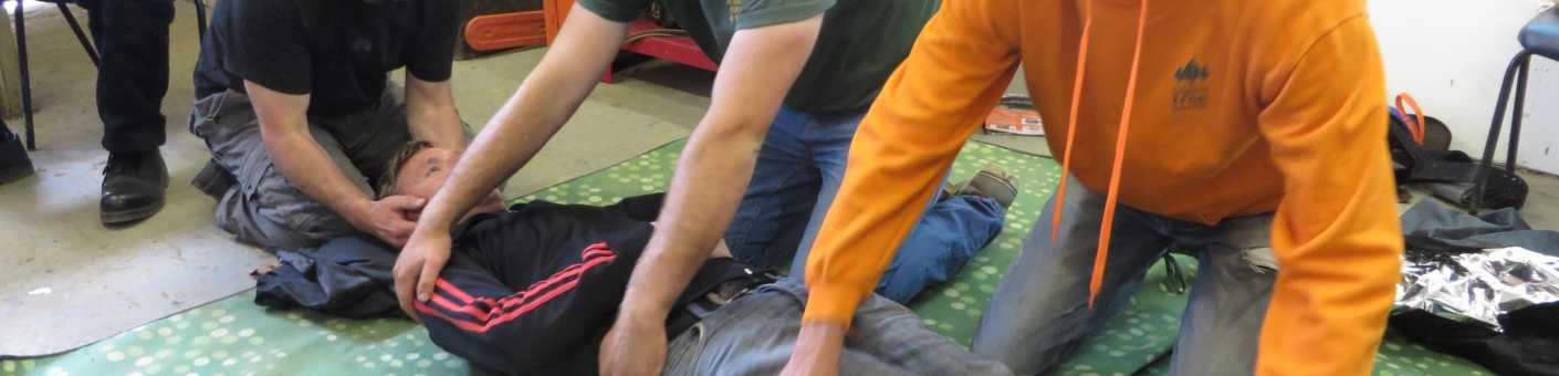 First aid training on human